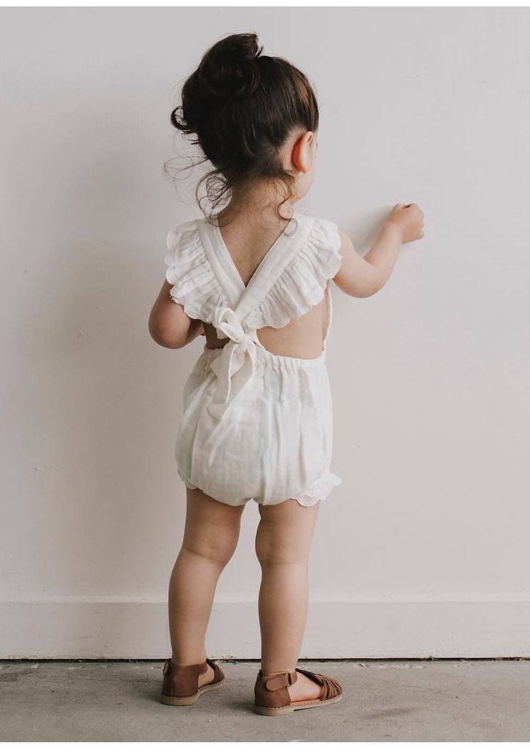 Baby Summer Bodysuits Sweet New Ruffles Bodysuits Backless Cotton Fabric Toddles Clothes Free Shipping