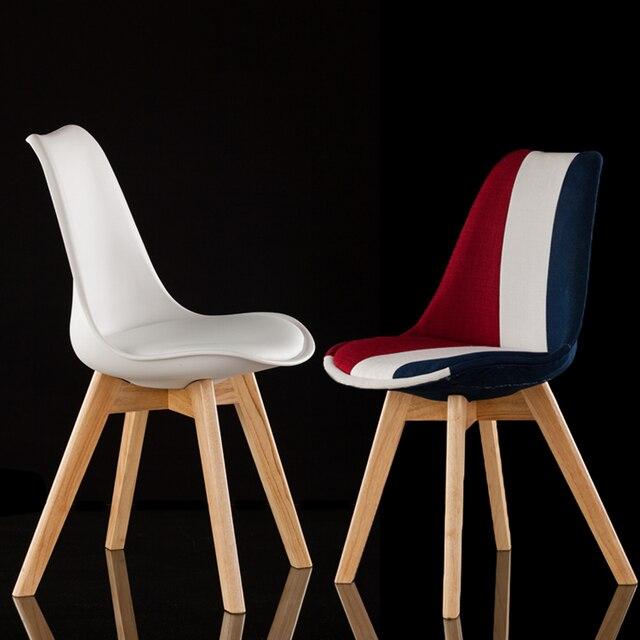Mode 100% En Bois Et En Plastique Pu Chaise, Blanc, Rouge Bleu, À