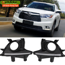 eeMrke High Power LED DRL For Toyota Kluger Highlander XU50 White DRL Fog Cover Daytime Running Lights Kits