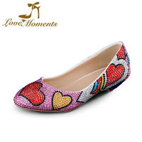 Sparkle Low Heel Shoes Multicolor Rhinestone Handmade Woman Pumps Lovely Design Wedding Party Shoes Round Toe