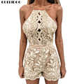 QUERIDOO Sexy Jumpsuits Rompers Roupas Femininas impressão bordado Lace Oco Out backless Clube Halter curto Bodysuit macacões