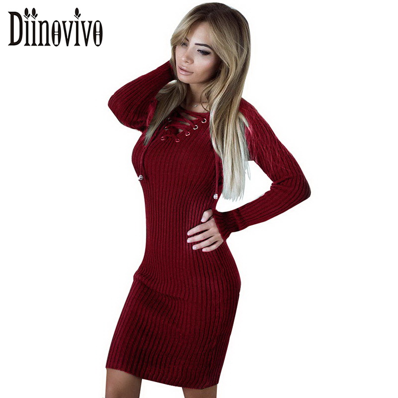 Lace Up Knitted Dress Sexy Female V-Neck Long Sleeve Bandage Dresses Black White Spring Prom Party Club Sweater Dress SWS019 shining beauty top quality women sexy short sleeve black white bandage dress 2017 knitted elastic party dress