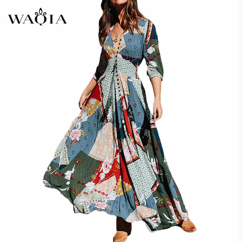 WAQIA 2019 Summer Long Dress Floral Print Boho Beach Dress Tunic Maxi Dress Women Evening Party Dress Sundress Vestidos de festa