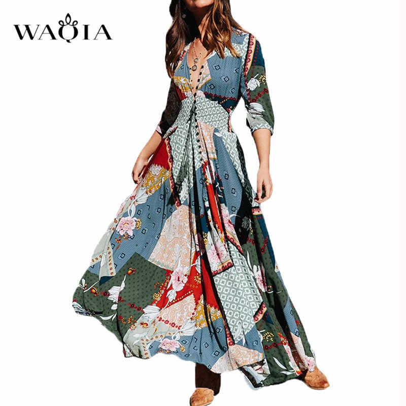 0c2fe606bc8 WAQIA 2019 Summer Long Dress Floral Print Boho Beach Dress Tunic Maxi Dress  Women Evening Party