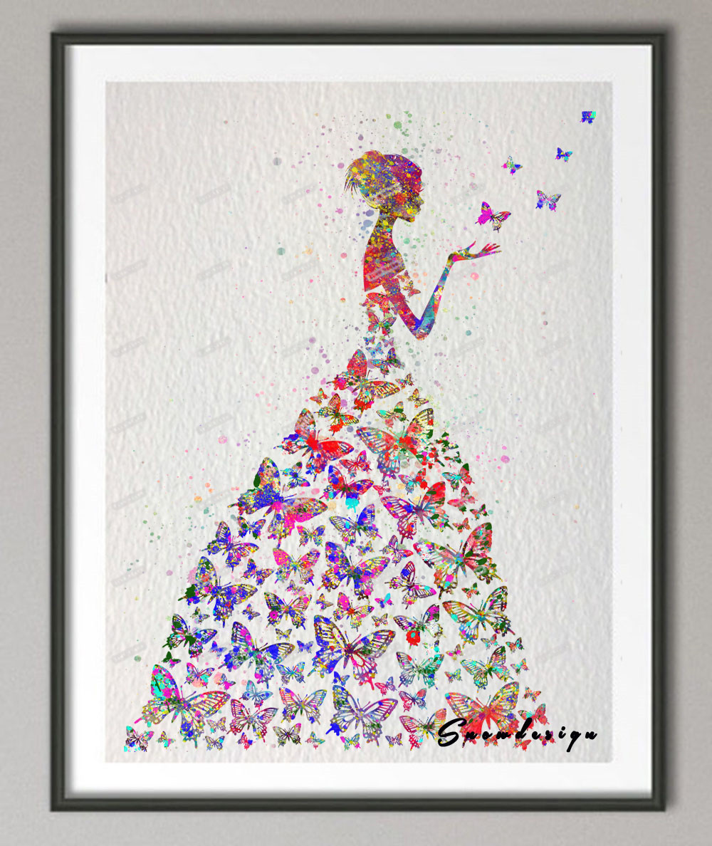 Popular butterfly girl pictures buy cheap butterfly girl for Wall art pictures paintings
