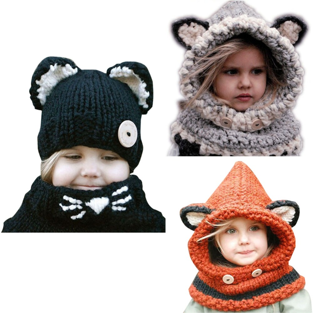 цены New Design Baby Hat Cap Cat Ear Fox Winter Beanie Hat Children Windproof Hat and Scarf Boy Girl Handmade Knitted Cap Skullies