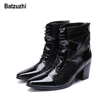 купить Batzuzhi 7cm High Heel Boots Men Lace-up Handsome Leather Dress Boots Black Party and Wedding Boots Men Designer botas hombre по цене 5987.35 рублей