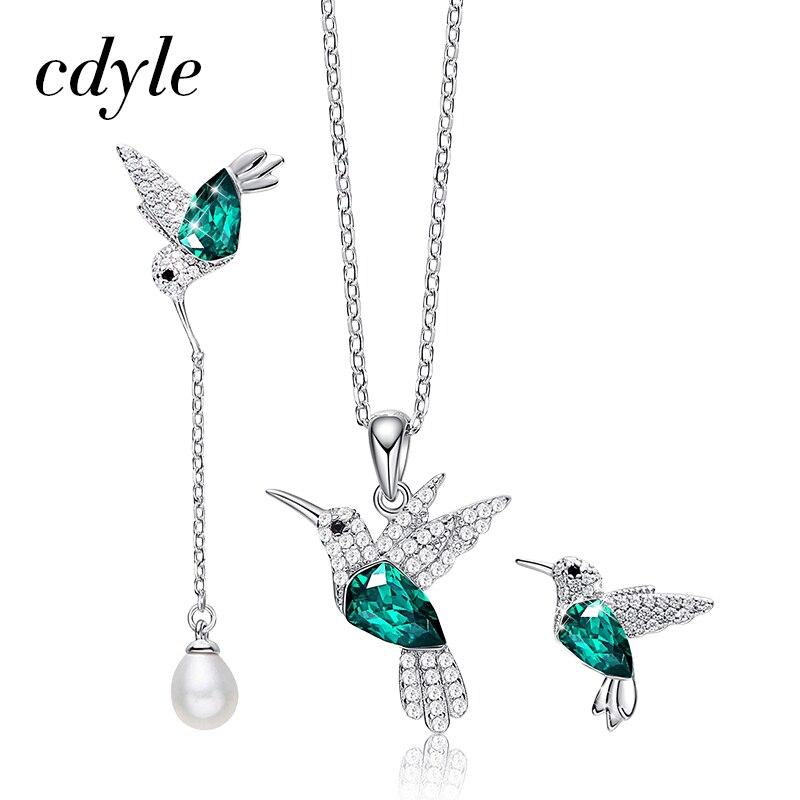 Cdyle 925 en argent Sterling femme ensembles de bijoux pour les femmes embelli avec cristal colibri collier et boucle d'oreille