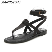 JIANBUDAN/ Ankle strap Women's casual sandals Flat fashion Gladiator sandals High quality PU leather Beach shoes 35-41 size ankle strap pu flat sandals