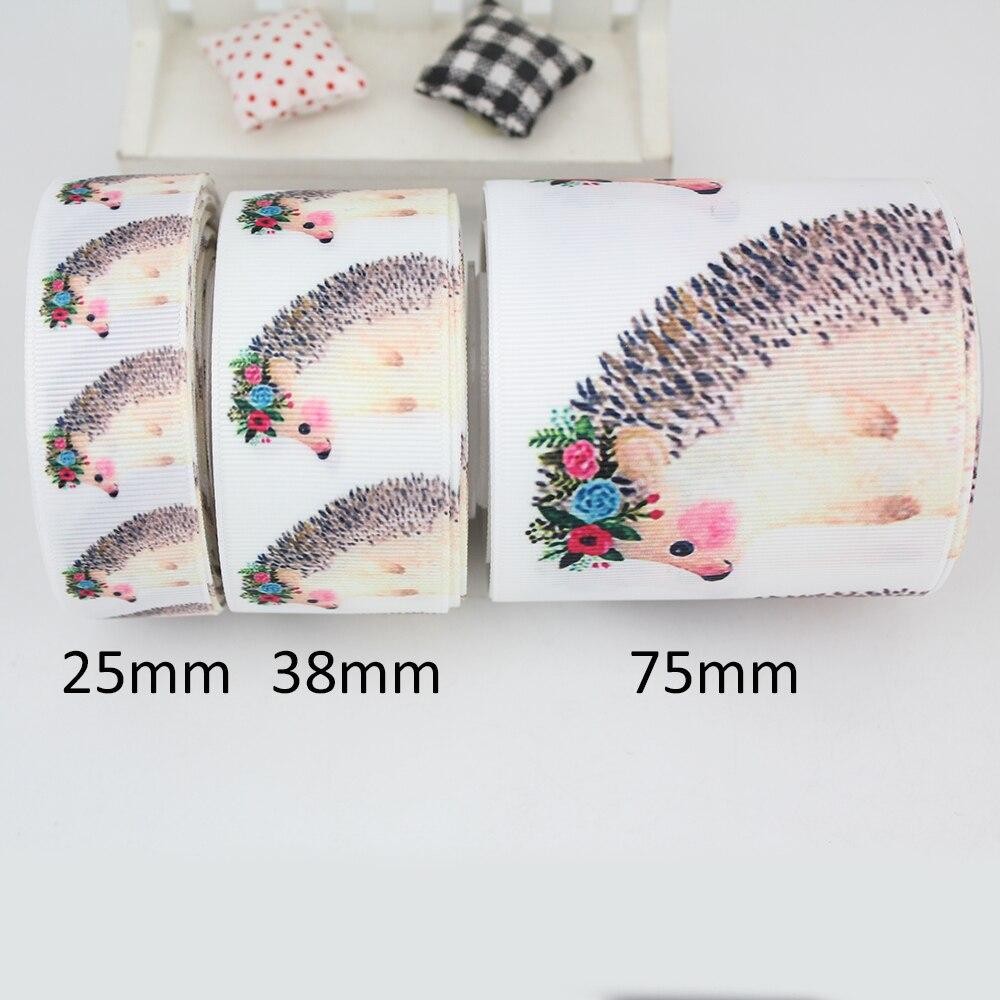 Милые цветочные Ежик венок печатная корсажная лента Белый Швейные Лента Свадебная подарочная упаковка 9 мм 16 мм 22 мм 25 мм 38 мм 57 мм 75 мм