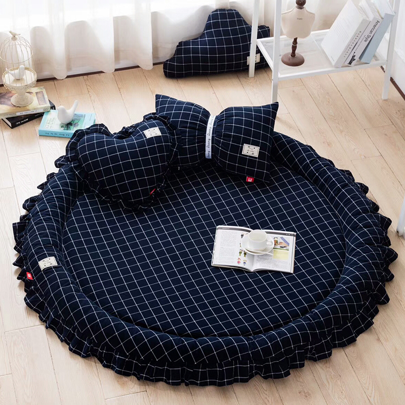 Sweet princess thicken removable playing round ground mat 150cm ,classical plaid decorative bedside carpet for child room