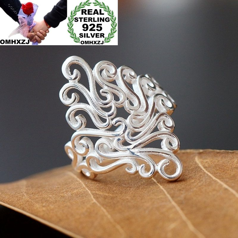OMHXZJ Wholesale European Fashion Woman Man Party Wedding Gift Silver Vintage Hollow 925 Sterling Silver Ring RR204