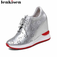 Lenkisen 2018 handmade natural leather round toe lace up hollow super high bottom increasing runway women vulcanized shoes L46