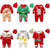 Baby Rompers Long Sleeve Autumn Winter Newborn Baby Boy Rompers Knitting Junmpsuit + Caps For Girls Baby Christmas Clothes BH78