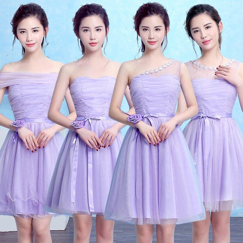 2017 new   Bridesmaid     Dresses   plus size stock cheap under $50 light blue purple champange short sexy simple knee length amdgm