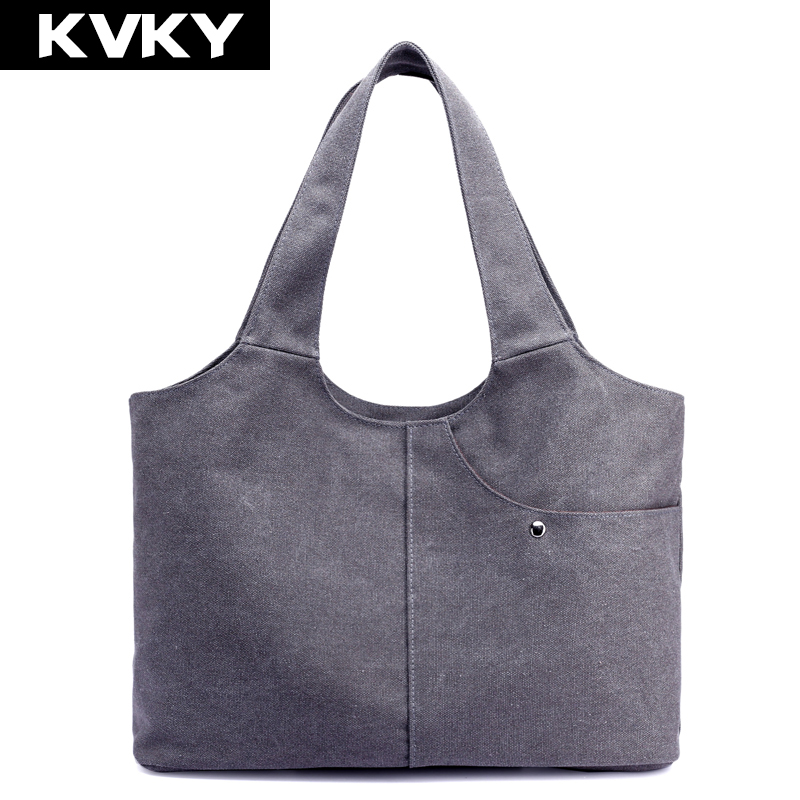 Canvas Ladies Handbags  Hobos Solid Casual Shoulder Bags Vintage Female Casual Tote Bags Bolsas