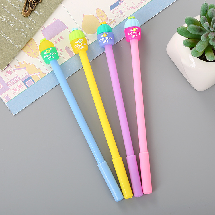 40 pcs Creative Stationery Jelly Cactus Neutral Pen lovely fresh Student Water Pen Cartoon Office Needle sign Pen