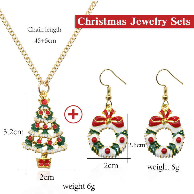 8185034ab0f39 DIY Vintage Charm Christmas Jewelry 3pcs/set Bells Santa Claus Xmas Gift  Box Pendants Necklace Earrings Gold Chain Drop Shipping