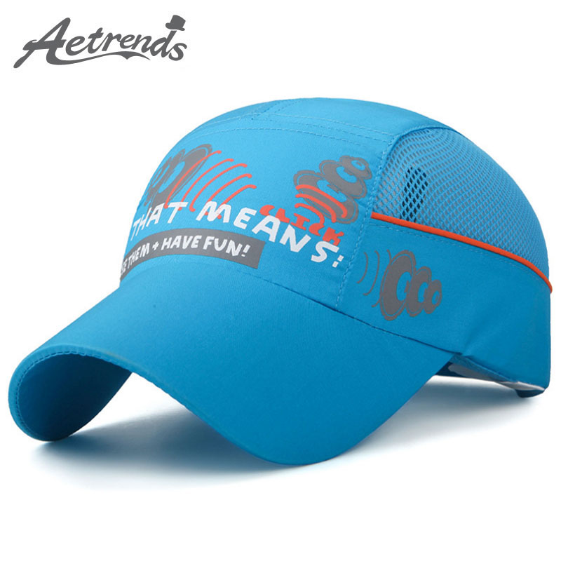 [AETRENDS] 2017 New Kids Baseball Cap Mesh Breathable Visor Hat Boy Girl Bone Snapback Quick Drying Summer Hats Z-5100 tropic hats mesh cap w camouflage front and visor adjustable one size