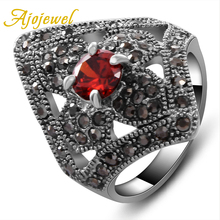 Size 7-9 New 2014 Hot Sale Zinc Alloy 18K White Gold Red/Black Zircon Ring For Women size 2 alloy gold and white scissors
