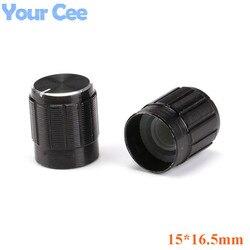 100 Uds botones del potenciómetro Cap aleación de aluminio negro 15*16,5mm en Stock para potenciómetro