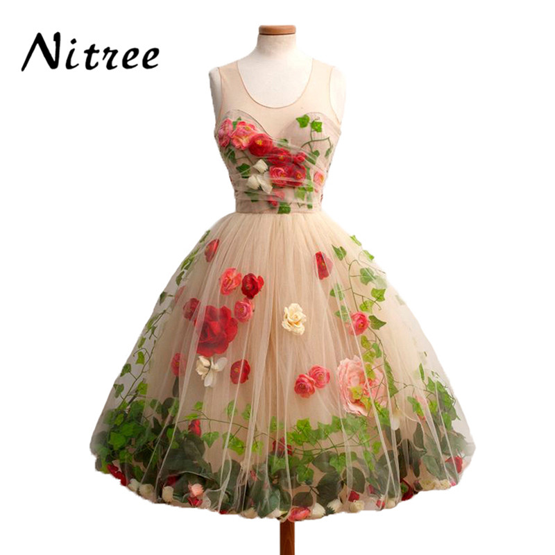 Real Sample Pretty Colorful 3D Flowers Leaf Champagne Tulle Short   Prom     Dresses   for Girls Formal Gown 2017 Vestido De Festa
