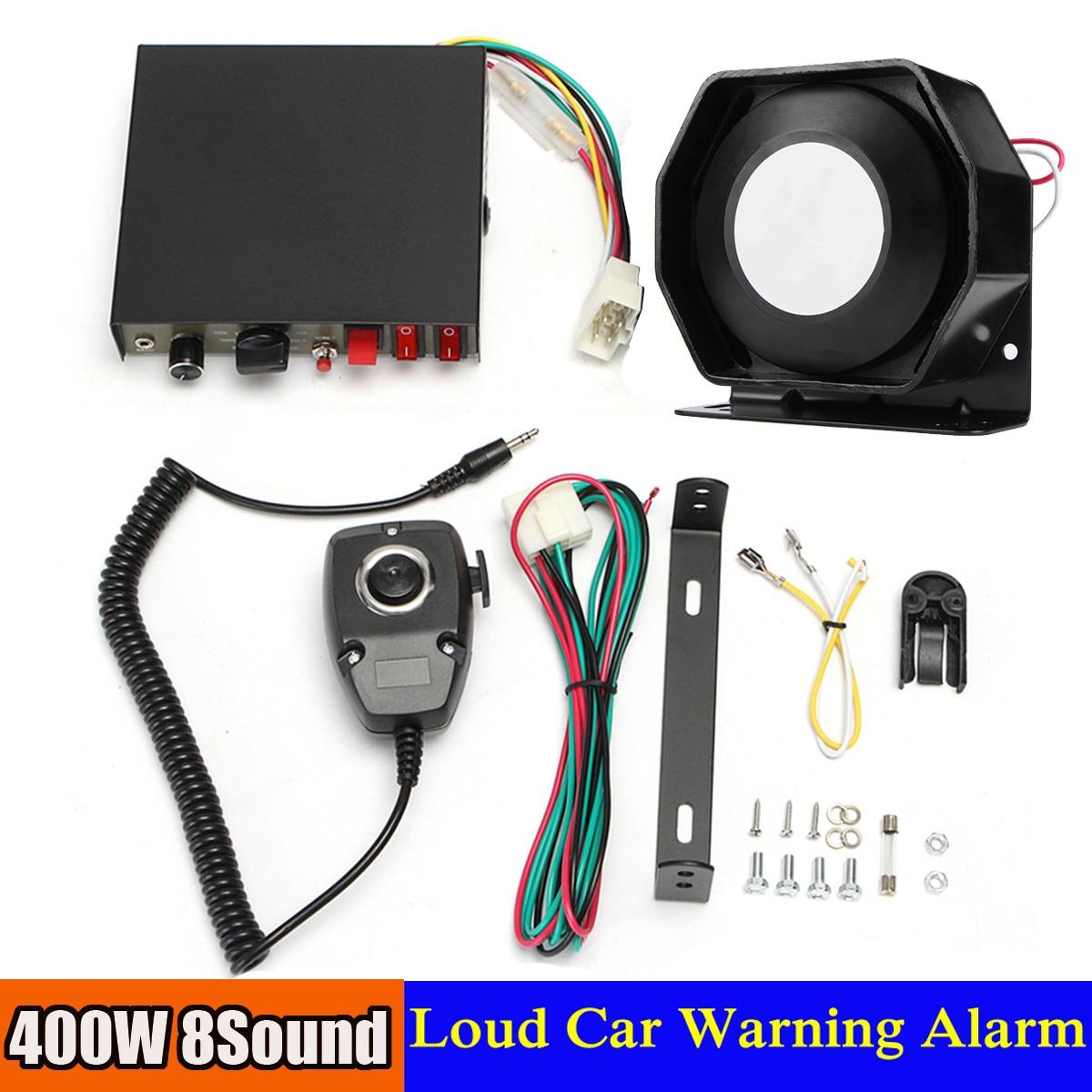 400W 8 Sound Loud Car Warning Alarm P olice Fire S iren Horn PA Speaker MIC System
