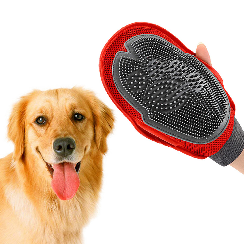 Dog Cat Hair Animal Massage Hair Removal Dog Bath Glove Red Plastic Grooming Cleaning