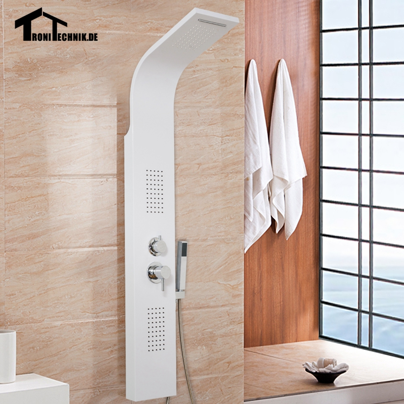 l Curved Bathroom White Shower Panel Waterfall Body Jets Hand Held ...