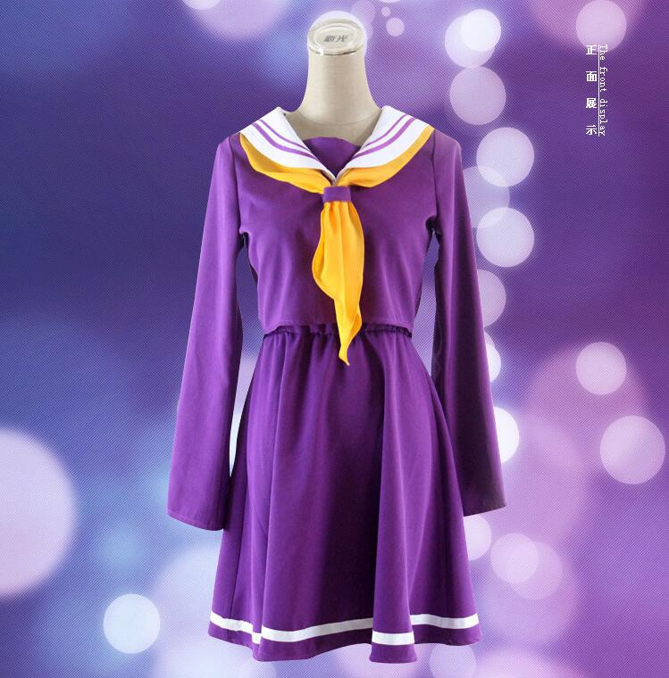 Anime Cosplay No Game No Life Shiro Emboitement Heroine Sailor Suit (top+ skirt+ Bow tie+ shoulder tape+ oversleeve+sock) S-XL