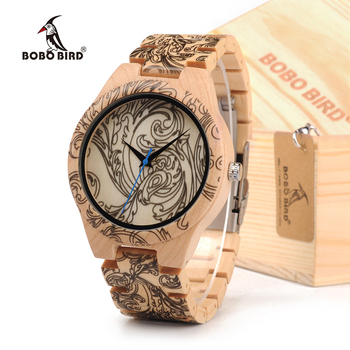 BOBOBIRD Tatto Print Wooden Watches Mens All Maple Wood Quartz Wristwatch in Wooden Box