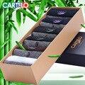 Cartelo marca negocios hombres calcetines caja de regalo calcetines de algodón macho calcetines de algodón jacquard de fibra de bambú antibacteriano