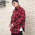 Red Black Plaid Quilted Cotton Shirt Men 2019 Vintage Hip Hop Plus Thick Tartan Long Sleeve Shirt High Street Loose Clothing