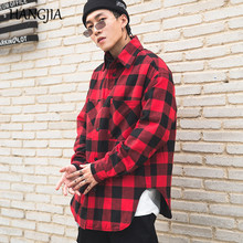 Red Black Plaid Quilted Cotton Shirt Men 2019 Vintage Hip Hop Plus Thick Tartan Long Sleeve Shirt High Street Loose Clothing pocket patched tartan shirt