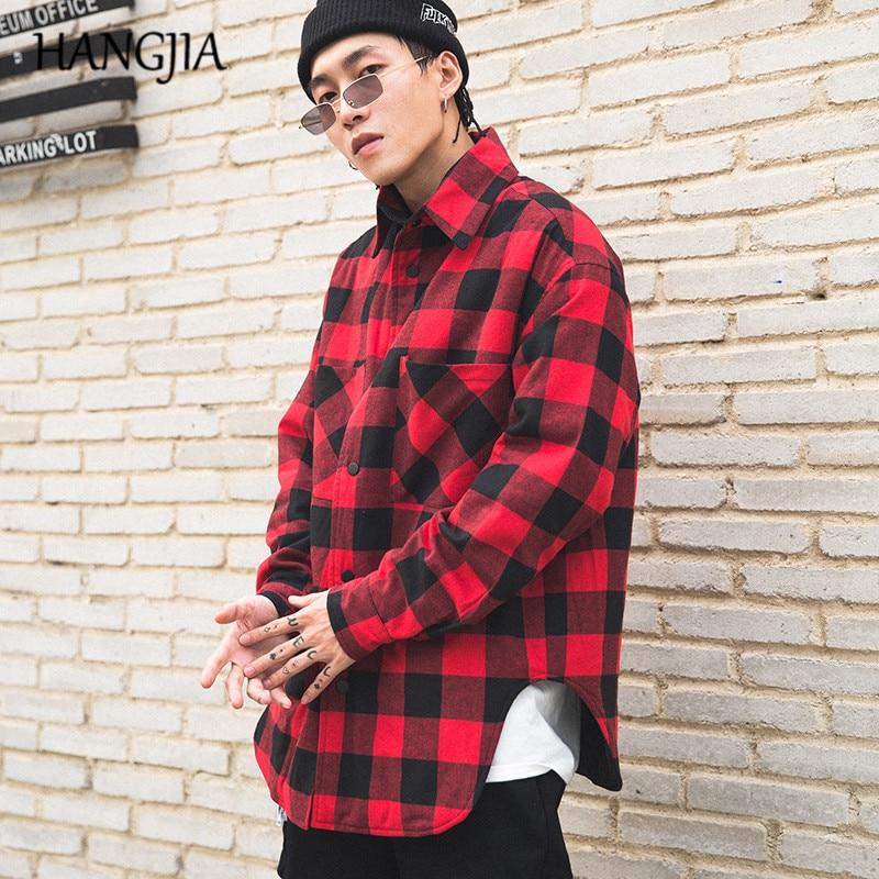 Vermelho preto xadrez acolchoado camisa de algodão dos homens 2019 vintage hip hop mais grosso tartan manga longa camisa alta rua solta roupas