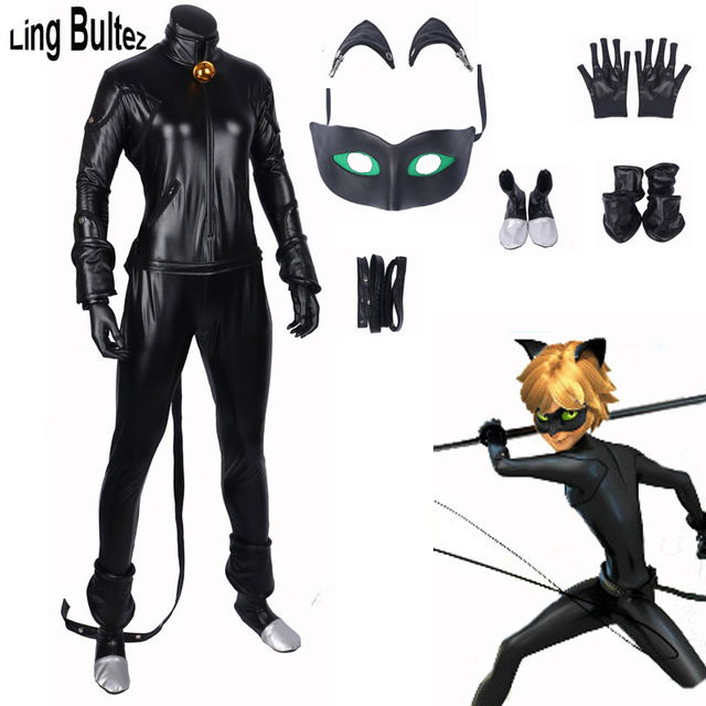 Ling Bultez High Quality New Miraculous Ladybug Cosplay Costume For Man Cat  Noir Costume Spandex Leather