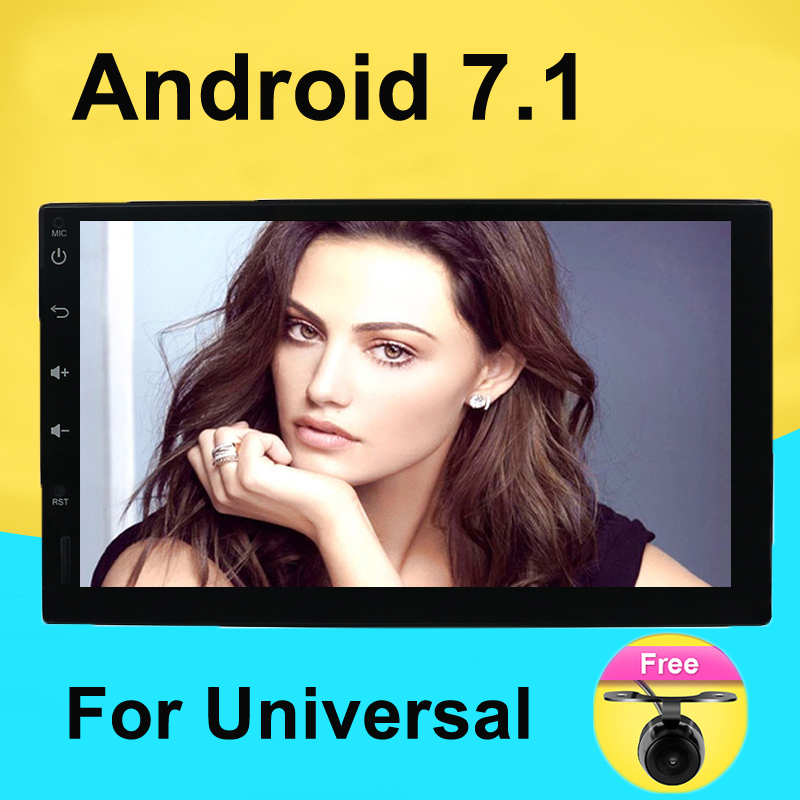Android 7.1 Universal Car Radio Double 2 din Car Radio Player GPS Navigation In dash Car PC Stereo video+Free Map+Free Camera все цены