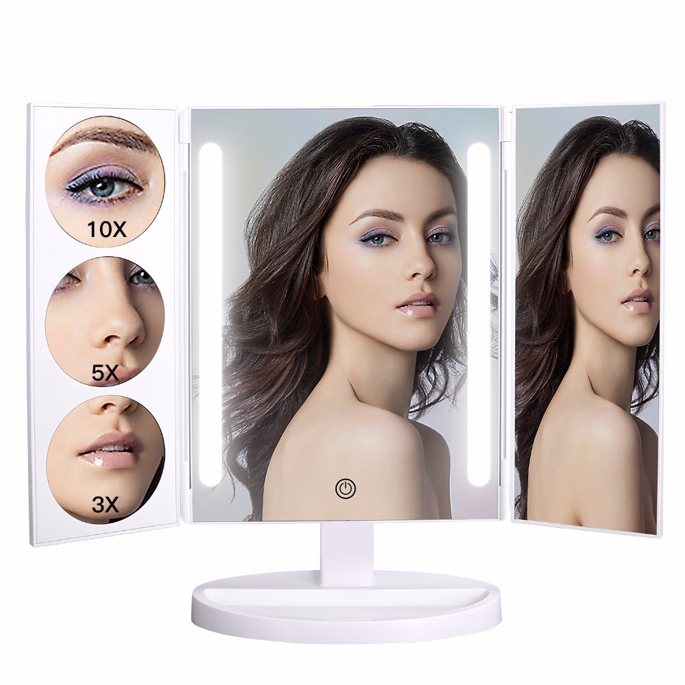 Large Makeup Mirror with 26 LE Lights 1X/3X/5X/10X Magnification Standing Cosmetic Mirror Tri-folding Portable 360 degree Swivel