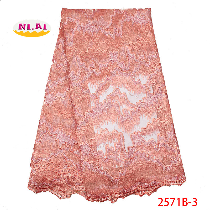 Peach Nigerian Lace Embroidery Beaded African Sewing Lace Swiss Lace Material MR2571B