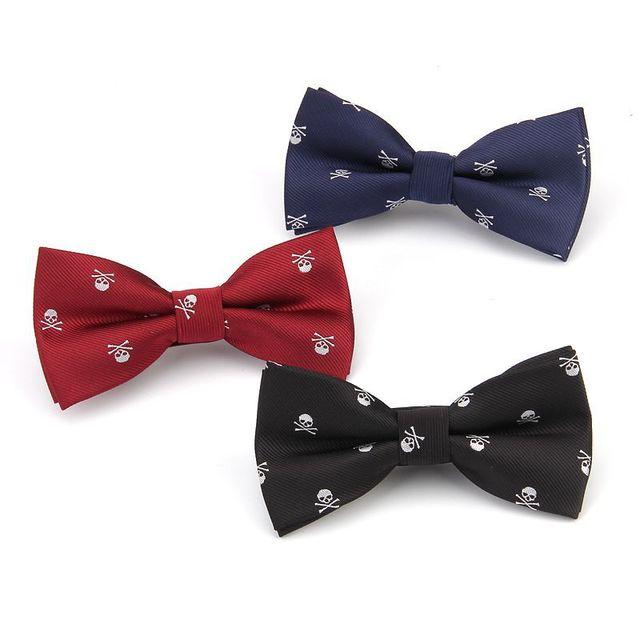 skull bow tie black ties for men cool bowtie party gift necktie