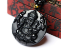 Natural Black Obsidian Carved Ganesh Elephant Lucky Pendants Free Necklace Fine Jade Crystal Fashion woman man Amulet Jewelry