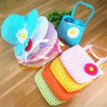 Suit Straw-Hat Handbag Flower Girls Kids Children Summer 54CM Bags-Set Cap