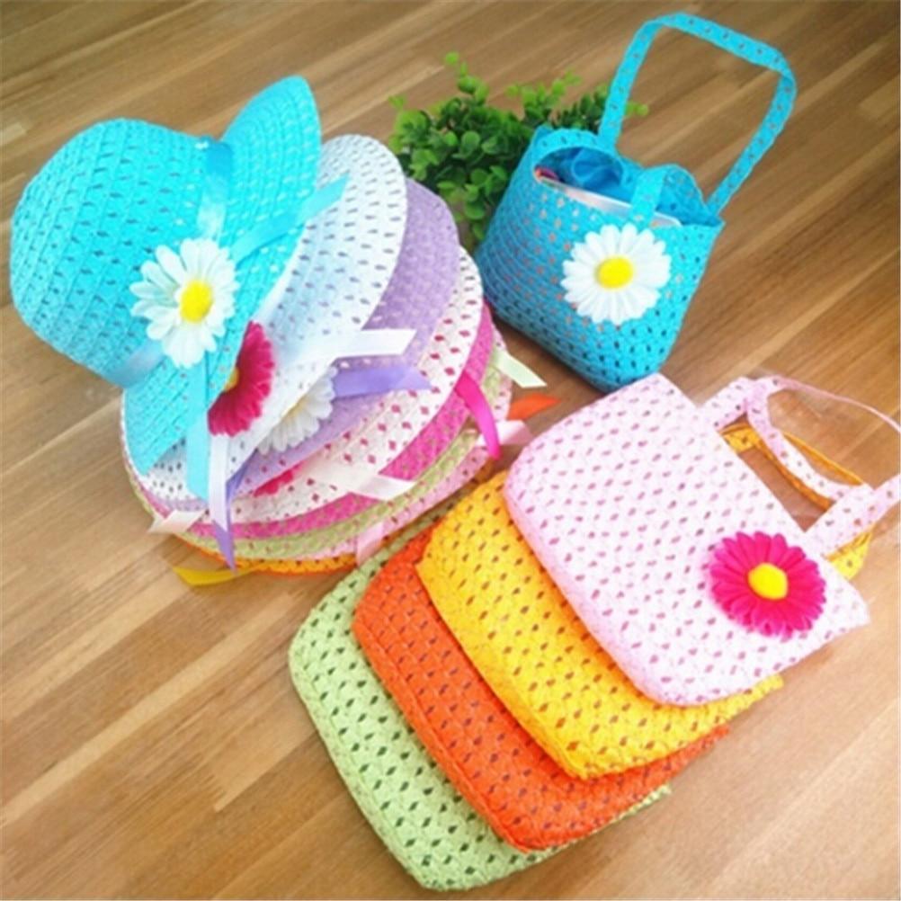 Mädchen Kinder Strand Hüte Taschen Set Blume Stroh Hut Kappe Handtasche Tasche Anzug Kinder Sommer Sonnenhut 54 Cm Verbraucher Zuerst