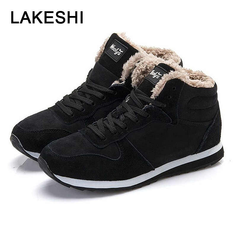 LAKESHI Warm Fur Snow Boots Fashion Women Boots Lace-up Ankle Boots Women Work Female Shoes Winter Shoes Round Toe Ladies Shoes