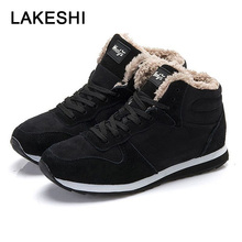 LAKESHI Warm Fur Snow Boots Fashion Women Lace-up Ankle Work Female Shoes Winter Round Toe Ladies