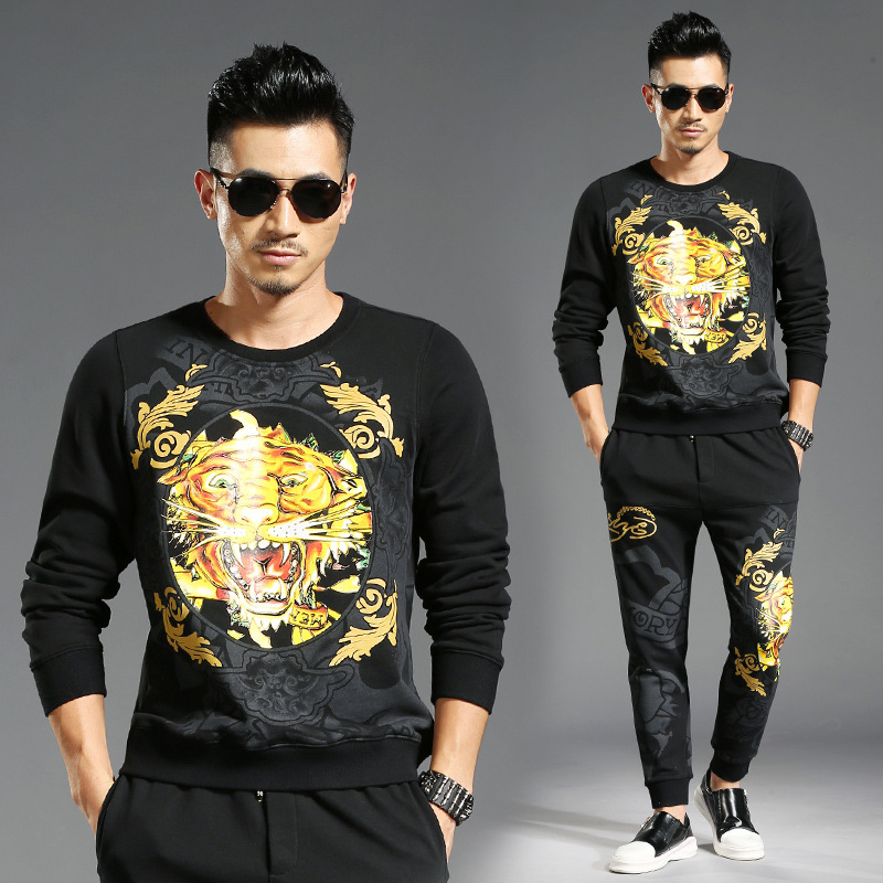 2017 Winter Tracksuit Men Set Blazer Trousers Mens Suits Tiger Print Animal Pattern Casual Fitness Joggers Track Suit