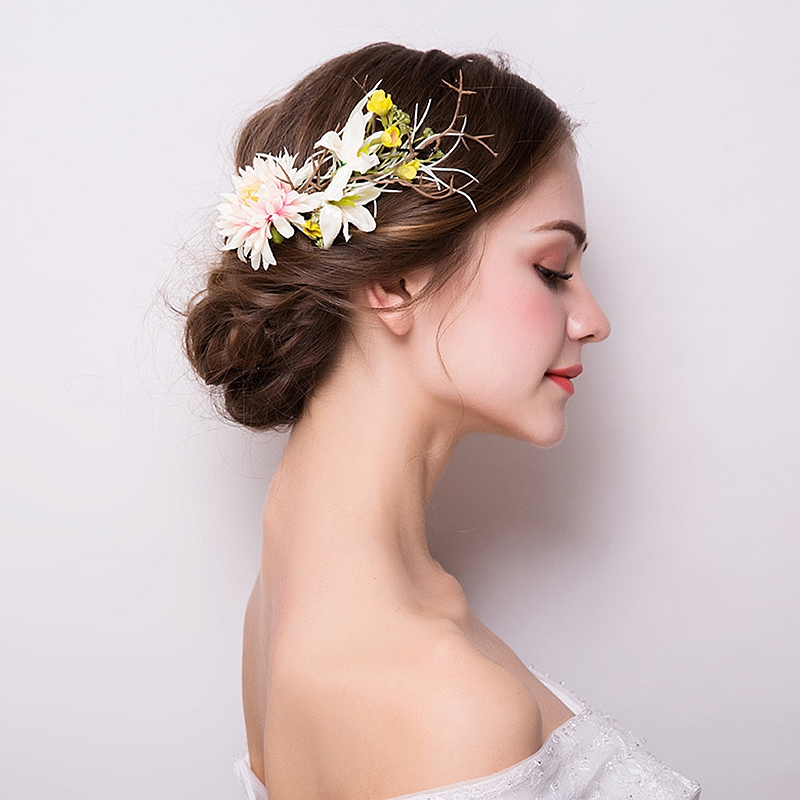 2018 New Bridal Headwear Head Flower Wedding Jewelry Yellow Hair Claws Accessories Japan and South Korea Hot Items 2018 Trendy