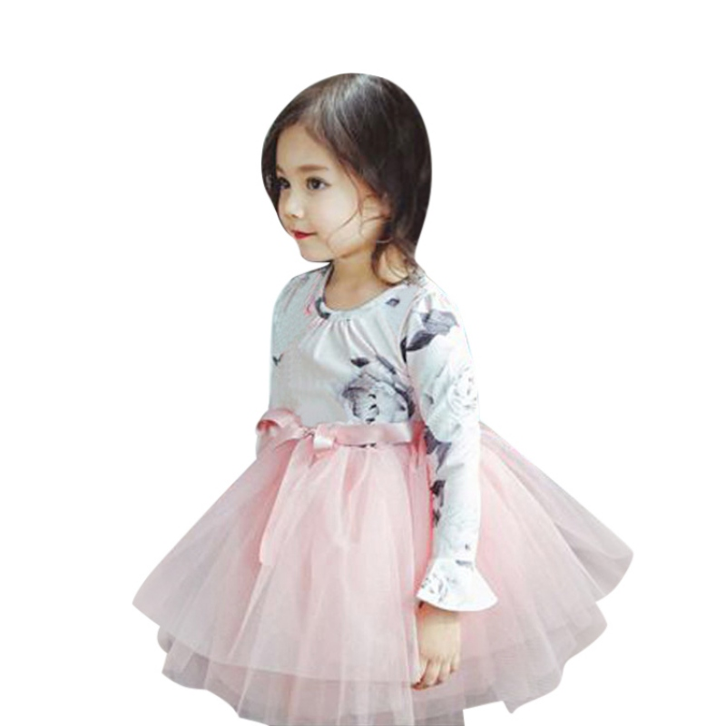 Spring Girls Bowknot Dress 2018 Casual Long Sleeves Lace Mesh Kids Dresses For Girl Clothing Cute Birthday Princess Dress spring winter girls dress 2018 casual long sleeves lace mesh patchwork kids dresses for girl new year clothing princess dress