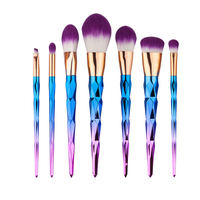 7Pcs New Contour Foundation Makeup Brushes Set Blush Powder Facial Brush Purple Hair Cosmetics Maquillaje Brush