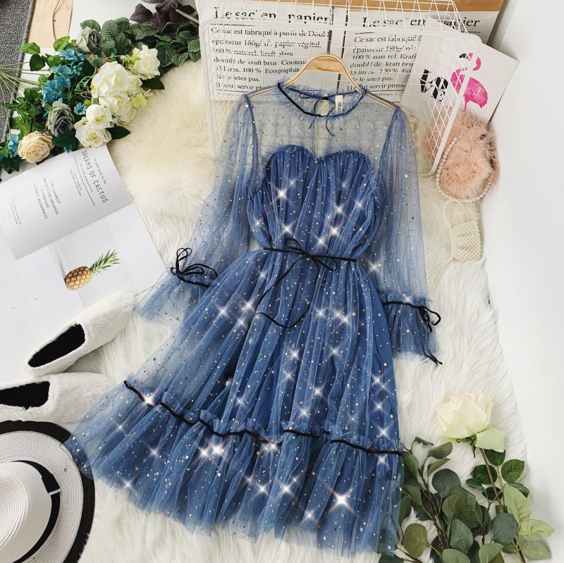 HISUMA spring autumn new women Star sequins gauze flare sleeve lace-up Princess dress female elegant o-neck mesh puff dresses 44